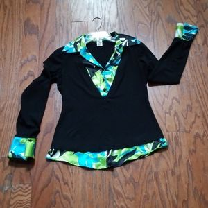CACHE Size M Black Green Blue Pullover Top